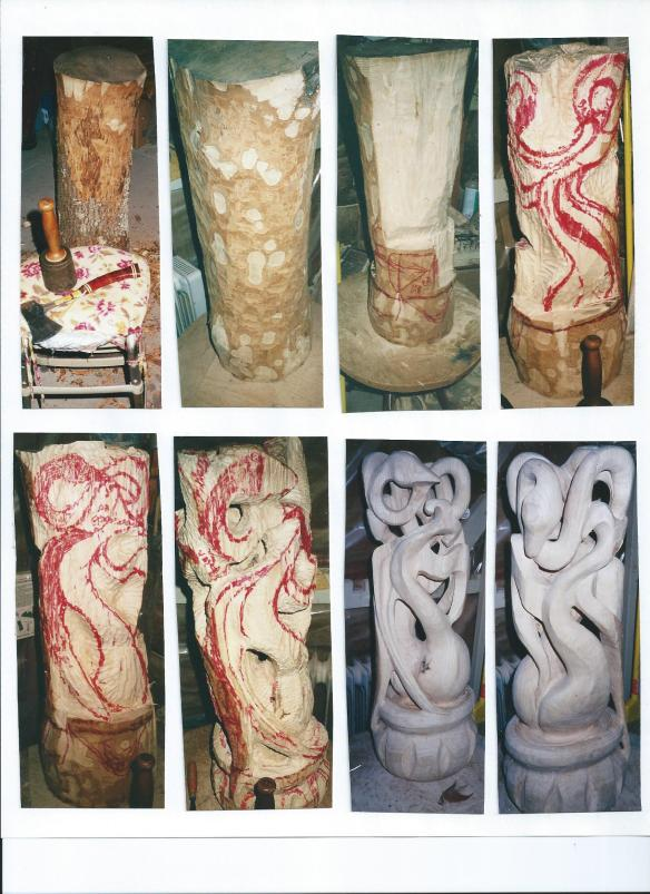 Process of Wood sculpture